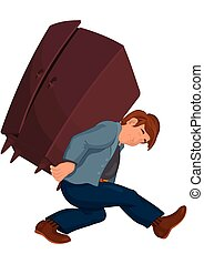 Cartoon man in gray jacket carries heavy furniture -...