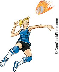 Jumping Volleyball Player Girl