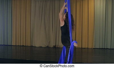 Practicing Aerial silk - Aerial silk practicing. It is...