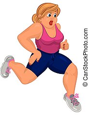 Cartoon young fat woman in pink top and running shoes running