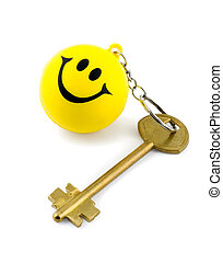 golden key on key ring smiles isolated on white background