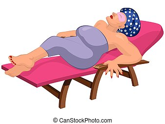 Cartoon woman in robe with eye mask on the beach chair -...
