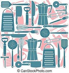 Seamless pattern of kitchen tools, vector illustration