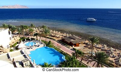 Sea in Sharm el-Sheikh resort, view from above
