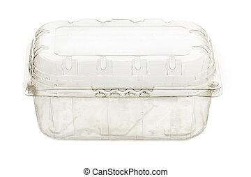 Plastic food box isolated on white background - Empty...