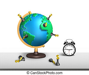 chess stand on 3d map terrestrial globe with clock - dollar...