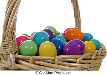 Easter Egg Basket with multicolored Eggs