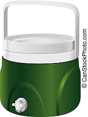 Plastic thermos with a tap on the side surface. Vector...