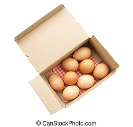 eggs in paper box isolate on white background