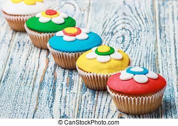 Cupcakes, cubierto, mastic