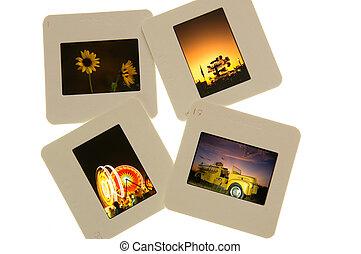 Color slides on table - Color slides on light table