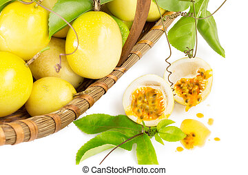 Passion fruit basket on white