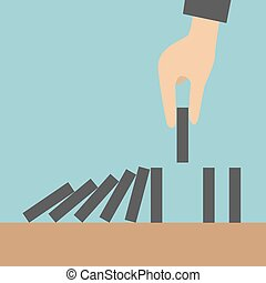 Domino effect - Concept businessman hand stopping the domino...