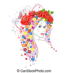 beautiful fashion young woman with flowers in hair