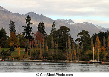 Queenstown lake - scenic view of beautiful lake at...