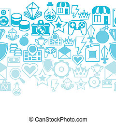 Seamless pattern with game icons in flat design style.