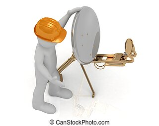 3d man in orange helmet adjusts the gold satellite dish on a...