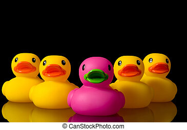 Dare to be different - rubber ducks on black - colorful...