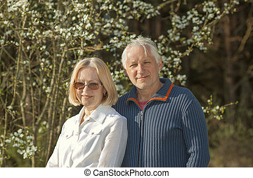 Portrait of a beautiful elderly couple outdoors