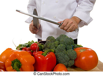 Chef - man sharpening knife - Professional chef sharpening...
