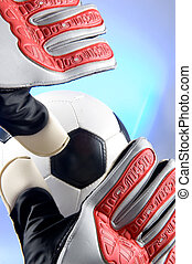 Soccer - Football Goal keeper stretching for ball - Soccer -...