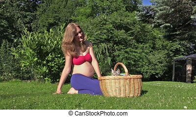 pregnant woman cat kitty - Little kitty cat jump out of...