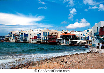 Little Venice neighborhood along the shore of Mykonos,...