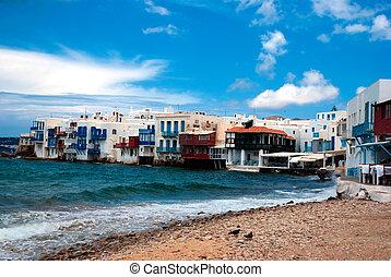 Little Venice neighborhood along the shore of Mykonos,...