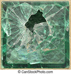 Shattered glass brick. Element for web design or 3D modeling