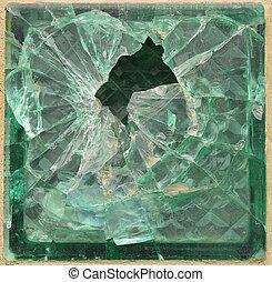 Shattered glass brick. Element for web design or 3D modeling