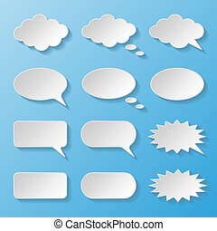 Set of paper speech bubbles Vector illustration