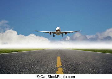 airplane is landing at airport against blue cloudy sky