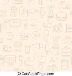 Seamless pattern of of flat colorful vector journalism icons...
