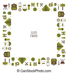 Frame of colorful camping equipment symbols and icons in...
