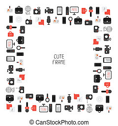 Frame of of flat colorful vector journalism icons. Mass...