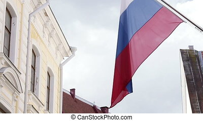Russian flags in city - Developing between home flag Russia
