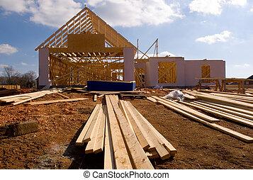 nuevo, casa, debajo, construcción