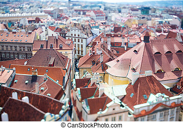 Prague - Tilt shift lens - Prague view of the city from...