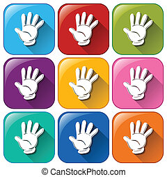 Hand icons - Illustration of the hand icons on a white...