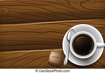 A topview of a table with a cup of coffee - Illustration of...