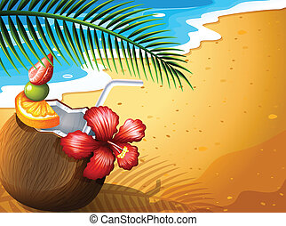 A refreshing coconut juice drink at the beach - Illustration...