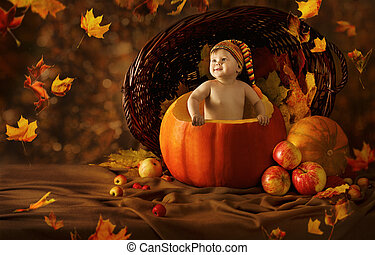 Autumn Baby Pumpkin. Little Kid Artistic Portrait In...