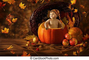 Autumn Baby Pumpkin. Little Kid Artistic Portrait In...