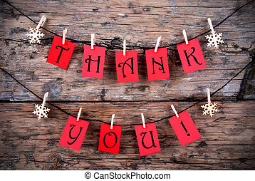 Thank You Tags on a Line - Thank You on Red Tags Hanging on...