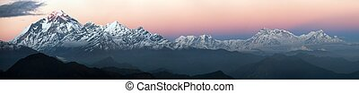 mount Dhaulagiri - Evening panoramic view of mount...