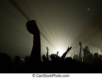 musical, concierto, -, cristiano, -, uplifted, Manos,...