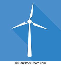 Wind turbine - Flat style white wind turbine on blue...