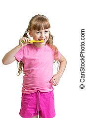 girl brushing teeth isolated