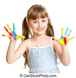 Adorable girl with hands painted in bright colors isolated...