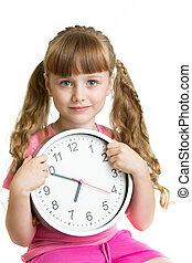 Girl displaying seven o'clock time in studio isolated